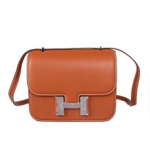 Hermès(爱马仕)Constace 空姐包 金棕色 swift皮 银扣 19cm