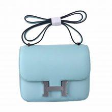 Hermès(爱马仕)Constace 空姐包 微风蓝  swift皮 银扣 19cm