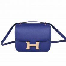 Hermès(爱马仕)Constace 空姐包 墨水蓝 EP 金扣 19cm