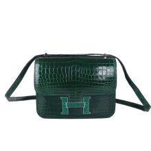 Hermès(爱马仕)Constace 空姐包 蜥蜴扣 祖母绿 亮面鳄鱼 19cm