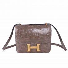 Hermès(爱马仕)Constace 空姐包 斑鸠灰 亮面鳄鱼 金扣 19cm