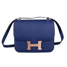 Hermès(爱马仕)Constace 空姐包 玫瑰金扣 深海蓝 epsom 23cm