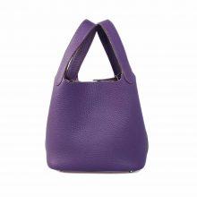 Hermès(爱马仕)Picotin 菜篮包 极度紫 togo 银扣 18cm