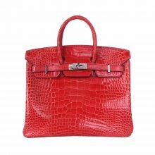 Hermès(爱马仕)Birkin 铂金包 辣椒红 亮面鳄鱼 银扣 25cm