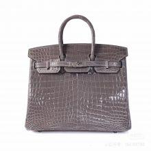 Hermès(爱马仕)Birkin 铂金包 斑鸠灰 亮面鳄鱼 银扣 25cm