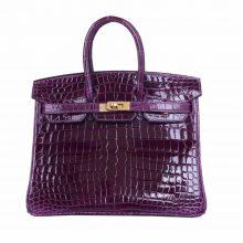 Hermès(爱马仕)Birkin 铂金包 葡萄紫 亮面鳄鱼 金扣 25cm