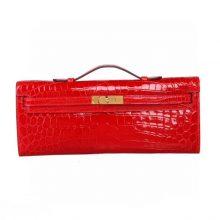Hermès(爱马仕)Kellycut 31cm 法拉利红 尼罗鳄 金扣