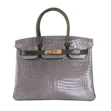 Hermès(爱马仕)Birkin 铂金包 CK81斑鸠灰拼V6橄榄绿 倒V湾鳄 金扣 30cm