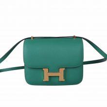 Hermès(爱马仕)Constace 空姐包 丝绒绿 Epsom 金扣 19cm