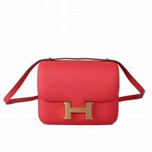 Hermès(爱马仕)Constace 空姐包 蜜桃粉 Epsom 金扣 19cm