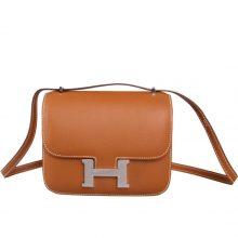 Hermès(爱马仕)Constace 空姐包 金棕色 Epsom 银扣 19cm