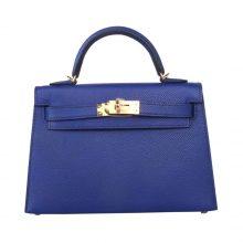 Hermès(爱马仕)miniKelly 二代 金扣  电光蓝  epsom皮 19cm