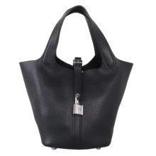 Hermès(爱马仕)Picotin 菜篮包 黑色 togo 银扣 22cm