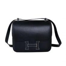 Hermès(爱马仕)Constance 空姐包 黑色 swift  银扣 23cm