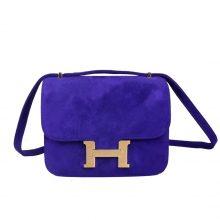 Hermès(爱马仕)Constance 空姐包 7T电光蓝 麂皮 金扣 19cm