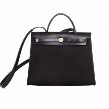 Hermès(爱马仕)Herbag 手提单肩包 黑色 帆布 银扣 31cm