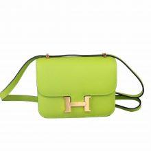 Hermès(爱马仕)mini 空姐包 玫瑰金扣 6R奇异果绿 epsom 14cm