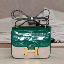 Hermès(爱马仕)Constance 空姐包 6Q翡翠绿 鳄鱼皮 金扣 19cm 出货