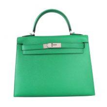 Hermès(爱马仕)Kelly 28CM 银扣 竹子绿  Epsom 手工 神级