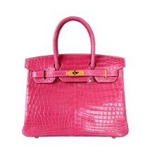 Hermès(爱马仕)Birkin 30cm 金扣 樱花粉  亮面鳄鱼  纯手工 神级