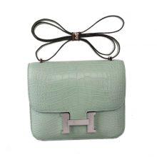 Hermès(爱马仕)Constance空姐包 19CM 银扣 薄荷绿 亮面鳄鱼 原单品质