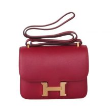 Hermès(爱马仕)Constance空姐包 19CM  金扣 石榴红  原厂御用顶级Epsom皮 原单品质