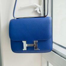 Hermès(爱马仕)Constance空姐包 19CM 银扣 电光蓝 Epsom皮
