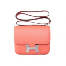 Hermès(爱马仕)Constance空姐包 银扣 火烈鸟粉 Epsom皮 19CM