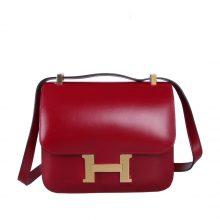 Hermès(爱马仕)酒红色 原厂御用顶级Epsom 皮 Constance 19