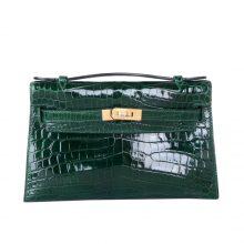 Hermès(爱马仕)miniKelly迷你凯莉 祖母绿 亮面鳄鱼 金扣 22cm 1代