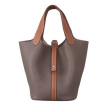 Hermès(爱马仕)Picotin菜篮包 大象灰拼金棕色 Togo 银扣 22cm