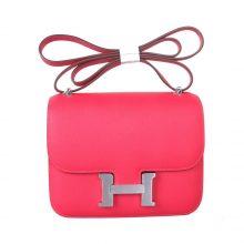 Hermès(爱马仕)Constace空姐包 银扣 极致粉 原厂御用epsom皮 19cm
