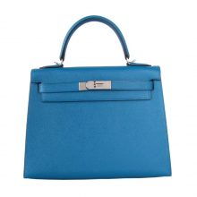 Hermès(爱马仕)Kelly凯莉包 伊兹密尔蓝 原厂御用Epsom皮 银扣 28cm