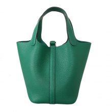 Hermès(爱马仕)Picotin菜篮子 丝绒绿 Togo 银扣 22cm