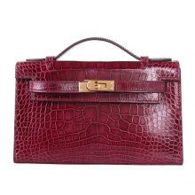 Hermès(爱马仕)minikelly迷你凯莉 宝石红 亮面鳄鱼 金扣 一代 22cm