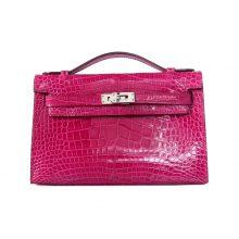 Hermès(爱马仕)minikelly迷你凯莉  玫红色 亮面鳄鱼 银扣 一代 22cm