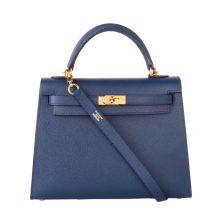 Hermès(爱马仕)Kelly 凯莉包 宝石蓝 原厂御用顶级Epsom 皮 金扣 28cm