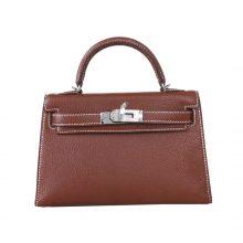 Hermès(爱马仕)miniKelly迷你凯莉 4I深咖啡色 山羊皮 银扣 20cm 2代