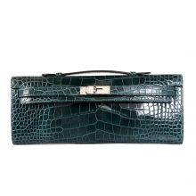 Hermès(爱马仕)Kelly Cut长款手包 翡翠绿 鳄鱼皮 银扣31CM