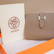 Hermès(爱马仕)Bearn 小H扣 短夹 斑鸠灰 epsom皮 银扣