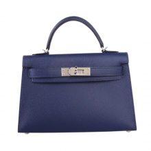 Hermès(爱马仕)Minikelly 二代 宝石蓝  银扣 Epsom皮
