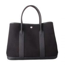 Hermès(爱马仕)Garden Party 花园包 黑色togo拼黑色帆布 银扣 30CM