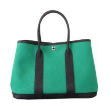 Hermès(爱马仕)Garden Party 花园包 黑色togo拼丝绒绿帆布 银扣 30CM