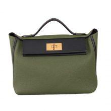 Hermès(爱马仕)Kelly2424 丛林绿拼黑 Togo 金扣 29cm