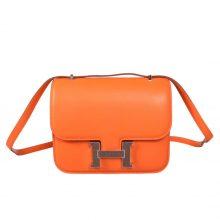 Hermès(爱马仕)Constace空姐包 橙色拼巧克力蜥蜴扣 原厂御用Swift皮 19cm