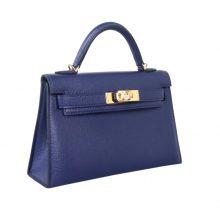Hermès(爱马仕)mini Kelly二代 CK73  bleu saphir 宝石蓝 山羊皮