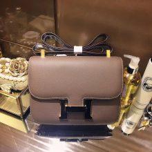 Hermès(爱马仕)Constace空姐包 大象灰 原厂御用epsom皮 银扣 23cm