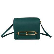 Hermès(爱马仕)Roulis猪鼻包 Z6孔雀绿 evercolor 金扣 19cm