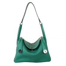 Hermès(爱马仕)Lindy琳迪包 丝绒绿 银扣 Togo 30CM