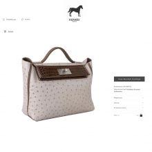 Hermès(爱马仕)Kelly2424 斑鸠灰鸵鸟 拼 咖啡色鳄鱼 银扣 29cm